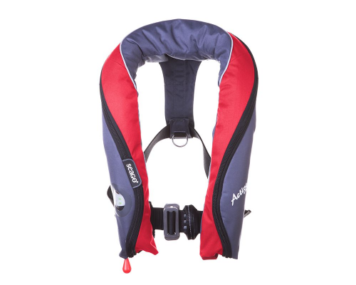 Seago Active 190N Lifejacket PRO SENSOR Automatic with Harness Light Hood Navy Red